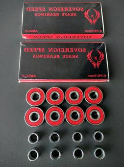 16 Pack Abec-9 Roller Skate Bearings with Spacers inline hoc