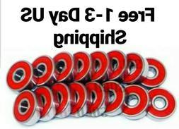 16 RED ABEC-9 Wheel bearings Skateboard scooter inline Rolle