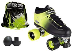 Riedell 2 Tone Dart Black & Green Ombre Quad Roller Speed Sk