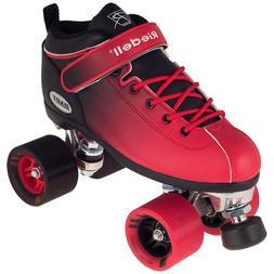 Riedell 2 Tone Dart Black & Red Ombre Quad Roller Speed Skat
