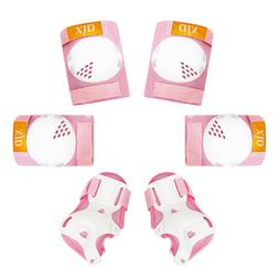 6Pcs Pink Roller Skates Cycling Knee Elbow Pad Wrist Guard P