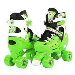 Adjustable Green Quad Roller Skates for Kids Medium Sizes