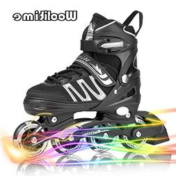 Woolitime Sports Adjustable Inline Skates for Kids with 8 Il