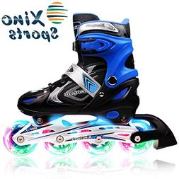 XinoSports Adjustable Inline Skates for Kids, Featuring Illu