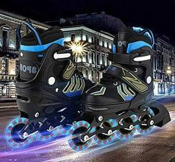 CAROMA Adjustable Inline Skates Roller Blades Flash Wheels G