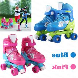Adjustable Kid Training Double Row Roller Skate PVC Wheel Tr
