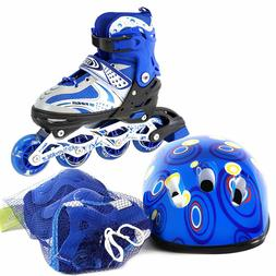 Adjustable Kids Inline Skates Helmet 6 PCS Protective Gear O