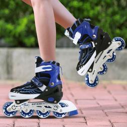 Adjustable Kids Roller Blades Inline Skates Light Up Wheels