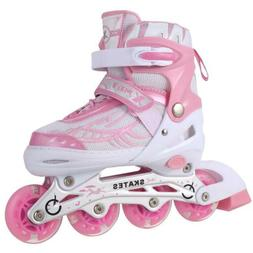 Adjustable Kids Roller Blades Inline Skates Light Up Wheels