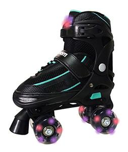 Mongoose Adjustable Light-Up Quad Roller Skate- Sizes 1-4 Ne