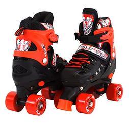 Scale Sports Adjustable Red Quad Roller Skates for Kids Medi