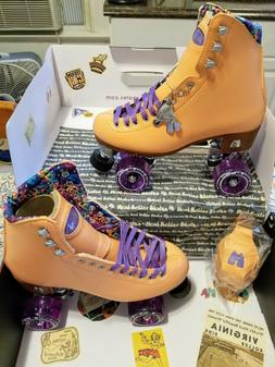 Moxi Beach Bunny Peach Blanket Roller Skates Size 9  Riedell