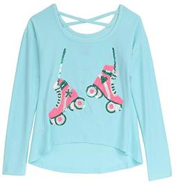 Colette Lilly Girls' Big Long Sleeve Sequin Tee, ice Blue Sk