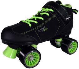 Black & Lime Green GTX-500 Quad Roller Speed Skates