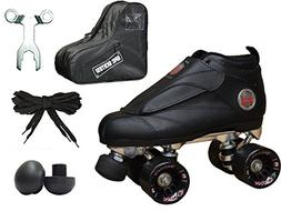 Epic Skates New Black Evolution Quad Roller Jam Speed Skates
