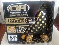 Roller Derby BLACK GOLD Polka Dot Skates girls adjustable PI