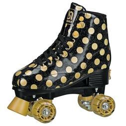 Roller Derby BLACK GOLD Polka Dot Skates Youth Adjustable Si