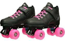Black GTX-500 Quad Roller Speed Skates w/ Pink Outdoor Wheel