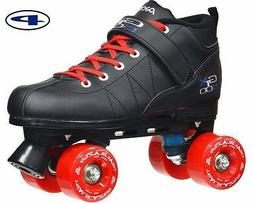 Black GTX-500 Quad Roller Speed Skates w/ Red Outdoor Wheels