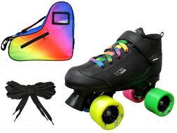 Black GTX-500 Rainbow Evolve Quad Roller Speed Skates + 2 Pr