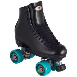 Black Leather Riedell Outdoor Quad Roller Skates w/ 62mm Ene