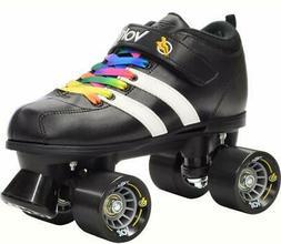 Black Riedell Volt Quad Derby Speed Roller Skates w/ Bonus L