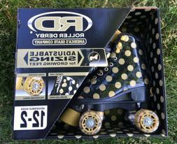 BRAND NEW Roller Derby BLACK GOLD Polka Dot Skates girls ADJ