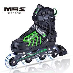 2PM SPORTS Brice Adjustable Inline Skates, Featuring Light U