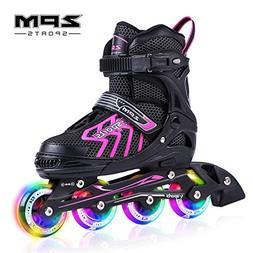 2PM SPORTS Brice Pink Adjustable Illuminating Inline Skates