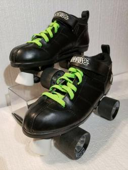 CHICAGO BULLET SPEED SKATES BLACK with LIME GREEN LACES  Siz