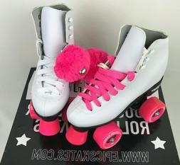 Epic Skates Cheerleader Quad Roller Skates White and Pink Si