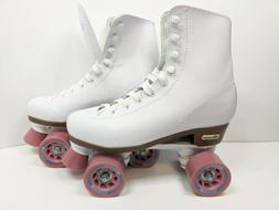 Chicago women's Classic Roller Skates, White with Pink, Size