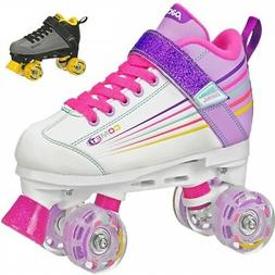 Pacer Comet Kids Roller Skates with Light Up Wheels  Quad Sk