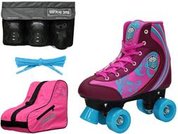 Epic Cotton Candy Quad Roller Skate 4Pc. Bundle With Bag & S