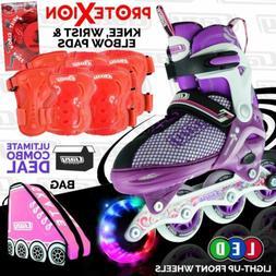 Crazy™ Kids Inline Roller Skates Blades Purple Light up Wh