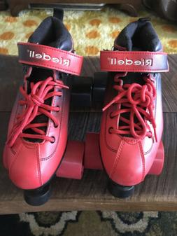 Riedell Dart red/black Ombre Roller Skates Size 5- Minimal W