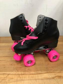 DEFECT  Classic Black High-Top Quad Roller Skates with Pink