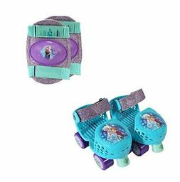 PlayWheels Frozen Glitter Roller Skates with Knee Pads, Juni