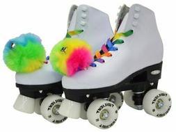 Epic Skates Epic Allure Light-Up Quad Roller Skates, White