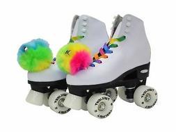 Epic Skates Epic Allure Light-Up Quad Roller Skates, White L