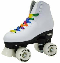 Epic Skates Epic Allure Light-Up Quad Roller Skates, White S