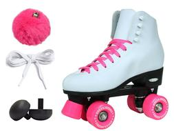 Epic Cheerleader White & Pink High-Top Quad Roller Skates