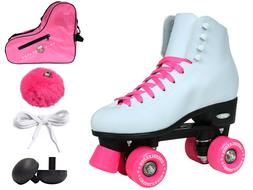 Epic Cheerleader White & Pink High-Top Quad Roller Skate 6 P