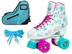 Epic Frost High-Top Quad Roller Skates Bundle w/ Blue Limite