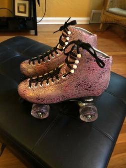 Epic Sparkle Pink & Silver Metallic High-Top Quad Roller Ska
