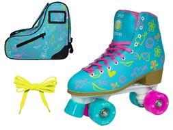 Epic Splash High-Top Quad Roller Skates 3 Pc. Bundle w/ Blue