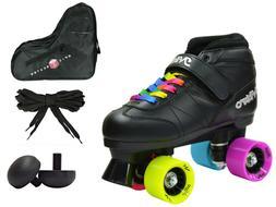 Epic Super Nitro Rainbow Quad Roller Speed Skates Bundle