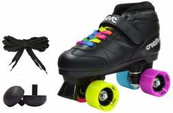 Epic Super Nitro Rainbow Quad Roller Speed Skates 2 Pr Laces