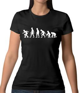 Evolution Of Man Roller Derby Womens T-Shirt - Skater - Skat