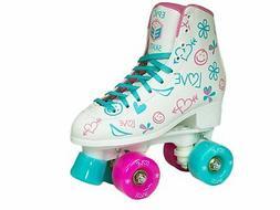 Epic Skates Frost Quad Roller Skates, White, Kids Size 1